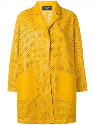 Кожаное пальто Simonetta Ravizza. Цвет: желтый