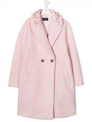 Флисовое пальто с цветочной аппликацией Monnalisa. Цвет: розовый