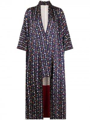 Пальто-кимоно 1970-х годов с цветочным принтом A.N.G.E.L.O. Vintage Cult. Цвет: синий