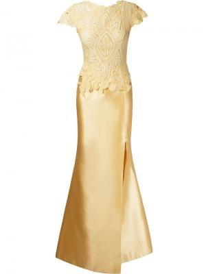 Marescot lace Adeline gown Martha Medeiros. Цвет: жёлтый и оранжевый