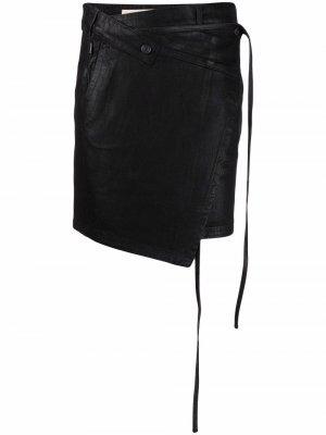 Джинсовая юбка асимметричного кроя Ottolinger. Цвет: черный