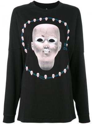 Рубашка с длинными рукавами и принтом R13. Цвет: черный