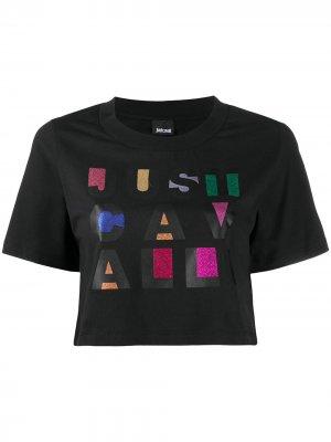 Укороченная футболка с логотипом Just Cavalli. Цвет: черный