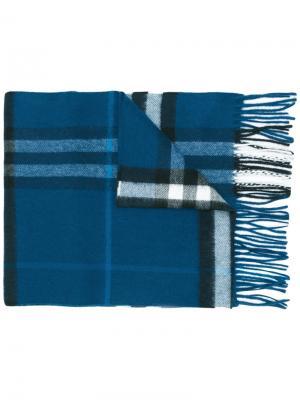 Кашемировый шарф в клетку Burberry. Цвет: синий