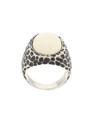 Перстень с леопардовым принтом Andrea D'amico. Цвет: металлик