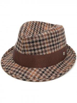 Шляпа Chris в ломаную клетку Tagliatore. Цвет: коричневый