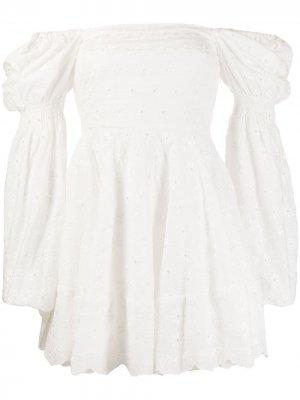 Платье мини Wren с английской вышивкой Caroline Constas. Цвет: белый