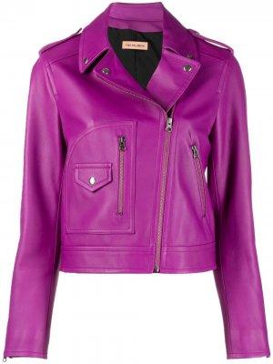 Укороченная байкерская куртка Yves Salomon. Цвет: фиолетовый