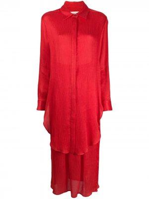 Многослойное платье-рубашка Mara Hoffman. Цвет: красный