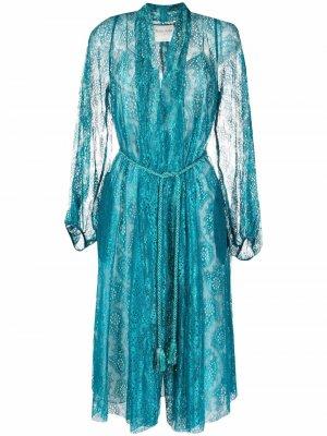 Кружевное пальто с завязками Forte. Цвет: синий