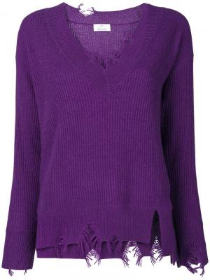 V-neck distressed jumper Allude. Цвет: фиолетовый