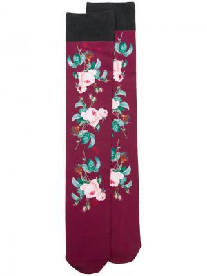 Носки с цветочным принтом Undercover. Цвет: красный