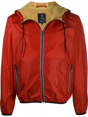 Непромокаемая куртка с капюшоном и кулиской Fay. Цвет: красный