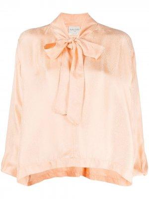 Блузка с бантом Forte. Цвет: оранжевый