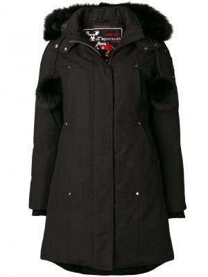 Zipped fur-trim coat Moose Knuckles. Цвет: черный
