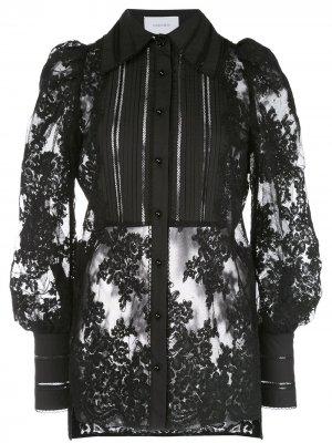 Кружевная блузка с длинными рукавами Marchesa. Цвет: черный