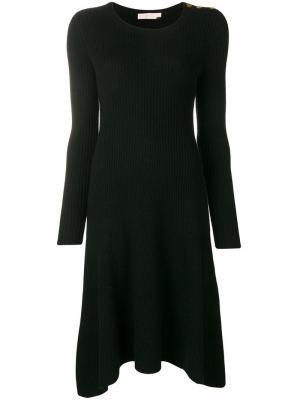 Вязаное платье в рубчик Tory Burch. Цвет: черный