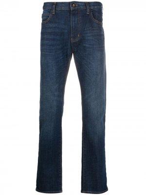 Прямые джинсы средней посадки Emporio Armani. Цвет: синий