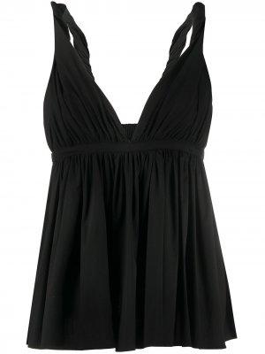 Блузка с V-образным вырезом и сборками Rochas. Цвет: черный