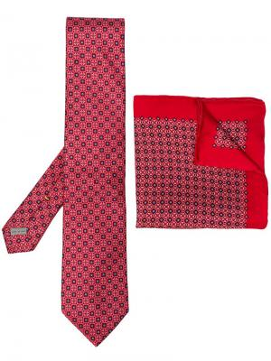 Patterned tie handkerchief set Canali. Цвет: красный