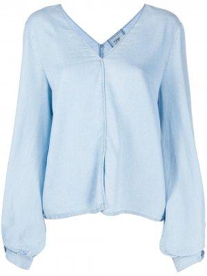 Джинсовая блузка с пышными рукавами Forte. Цвет: синий