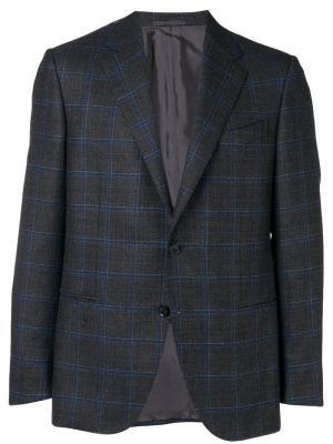 Клетчатый пиджак на двух пуговицах Caruso. Цвет: черный