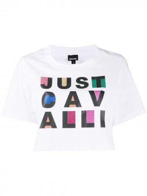 Укороченная футболка с логотипом Just Cavalli. Цвет: белый