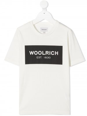 Футболка с логотипом Woolrich Kids. Цвет: белый
