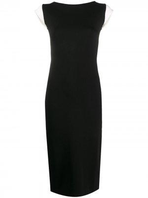 Приталенное платье с контрастными рукавами Escada. Цвет: черный