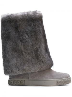 Mink fur Chaucer boots Casadei. Цвет: серый