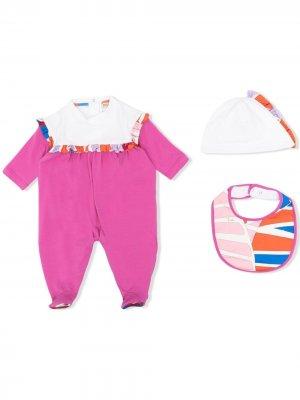 Комплект из комбинезона, шапки и нагрудника с принтом Sal Emilio Pucci Junior. Цвет: розовый