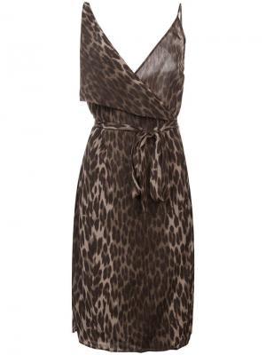 Приталенное леопардовое платье L'agence. Цвет: зеленый