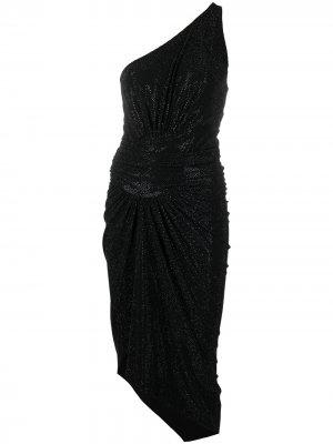Платье на одно плечо со сборками и кристаллами Alexandre Vauthier. Цвет: черный