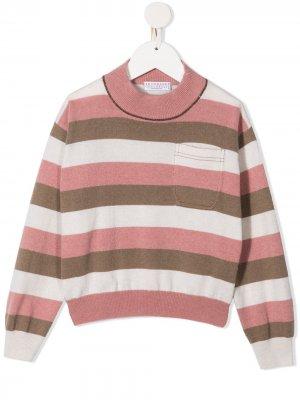 Полосатый джемпер с воротником-стойкой Brunello Cucinelli Kids. Цвет: розовый