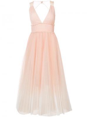 Плиссированное платье с расклешенной юбкой Marchesa Notte. Цвет: нейтральные цвета