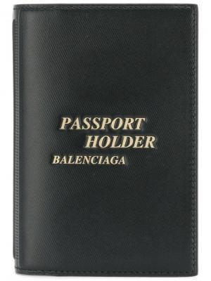 Обложка для паспорта Balenciaga. Цвет: черный
