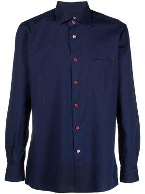 Рубашка с длинными рукавами Kiton. Цвет: синий