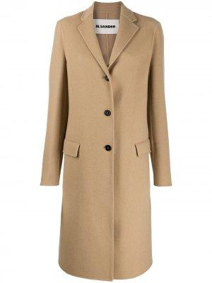 Однобортное кашемировое пальто Jil Sander. Цвет: нейтральные цвета
