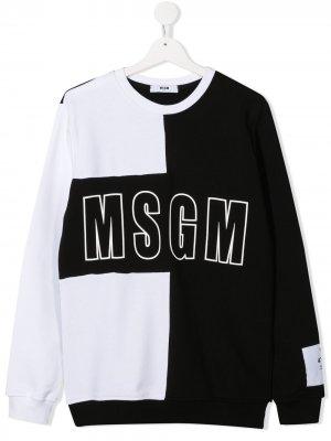 Свитер в стиле колор-блок с логотипом Msgm Kids. Цвет: черный