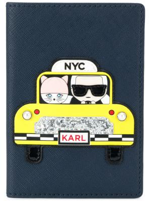 Обложка для паспорта NYC Karl Lagerfeld. Цвет: синий