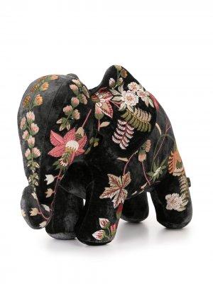 Мягкая игрушка в виде слона с вышивкой Anke Drechsel. Цвет: черный