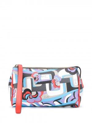 Косметичка с абстрактным принтом Emilio Pucci. Цвет: синий