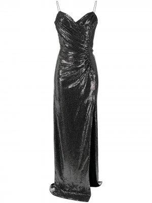 Вечернее платье с пайетками Azzaro. Цвет: серебристый
