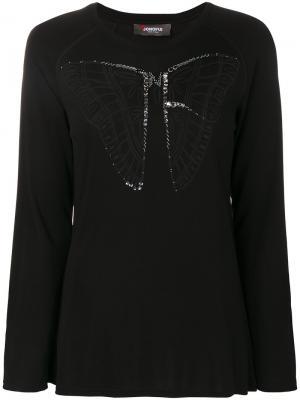 Топ с изображением бабочки и длинными рукавами Jo No Fui. Цвет: черный