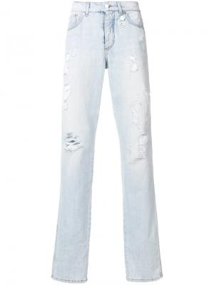 Рваные джинсы узкого кроя Gcds. Цвет: синий