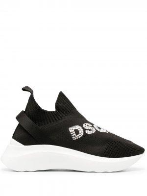 Кроссовки-носки с кристаллами Dsquared2. Цвет: черный