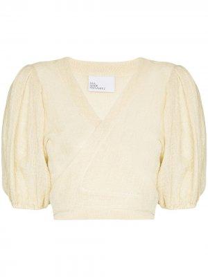 Блузка с пышными рукавами и запахом Lisa Marie Fernandez. Цвет: нейтральные цвета