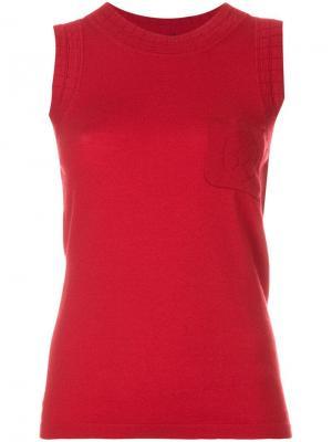 Трикотажная блузка с нагрудным карманом Chanel Vintage. Цвет: красный