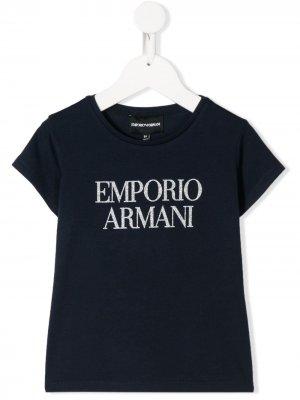Футболка с короткими рукавами и блестящим логотипом Emporio Armani Kids. Цвет: синий