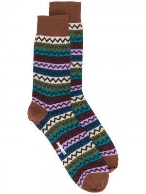 Носки вязки интарсия с узором зигзаг Missoni. Цвет: коричневый